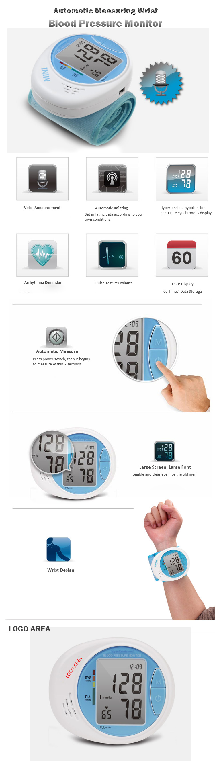 Automatic Measuring Wrist Blood Pressure Monitor