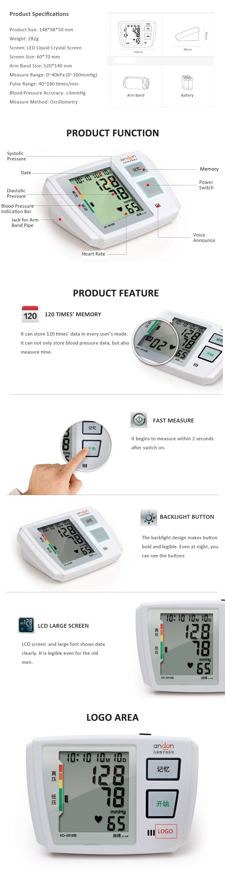 Large Screen 120 Times' Memory Blood Pressure Monitor