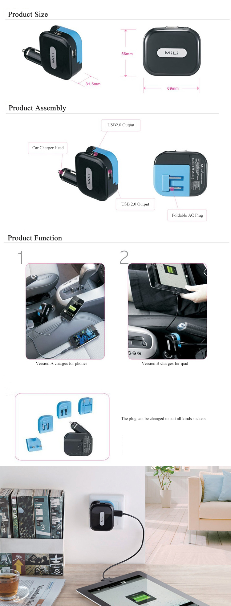 Traveling USB Car Charger Car Phone Charger