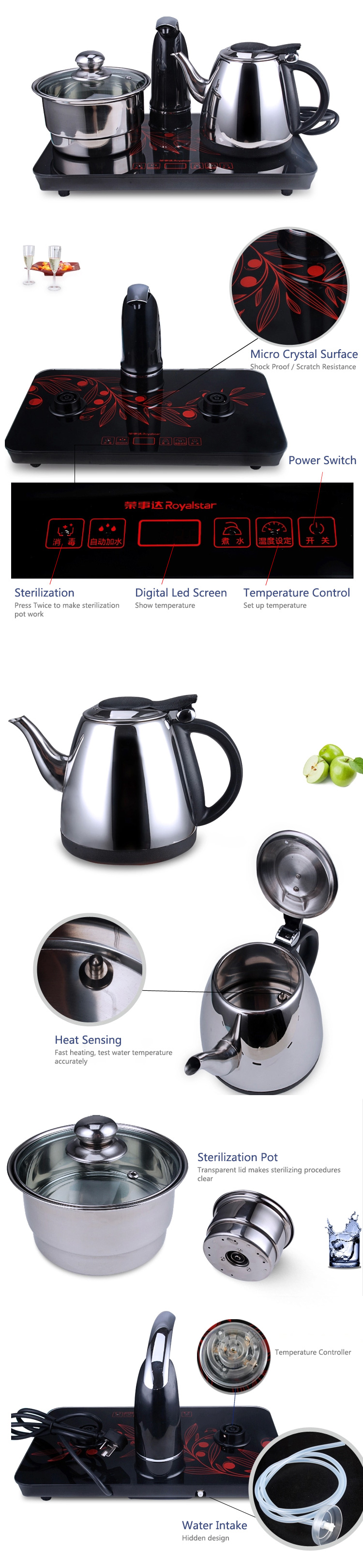 Royalstar Fast Boiled 1.0L Electric Tea Water Kettle
