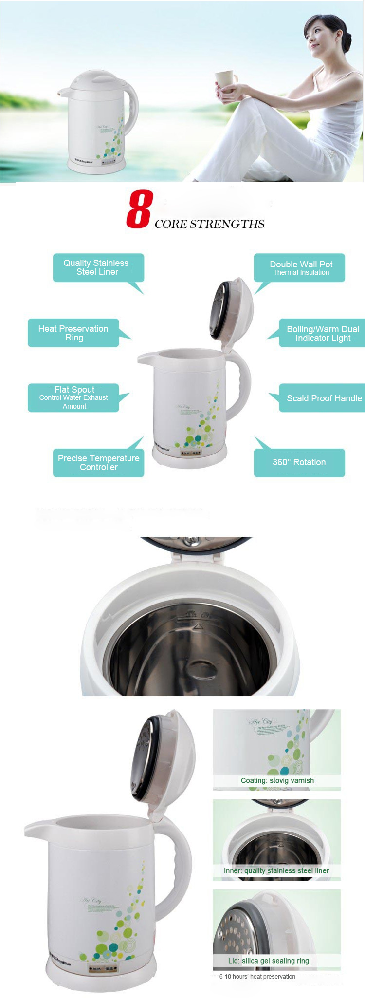 Royalstar 360 Degree Rotation Boiling Warm Electric Water Kettle