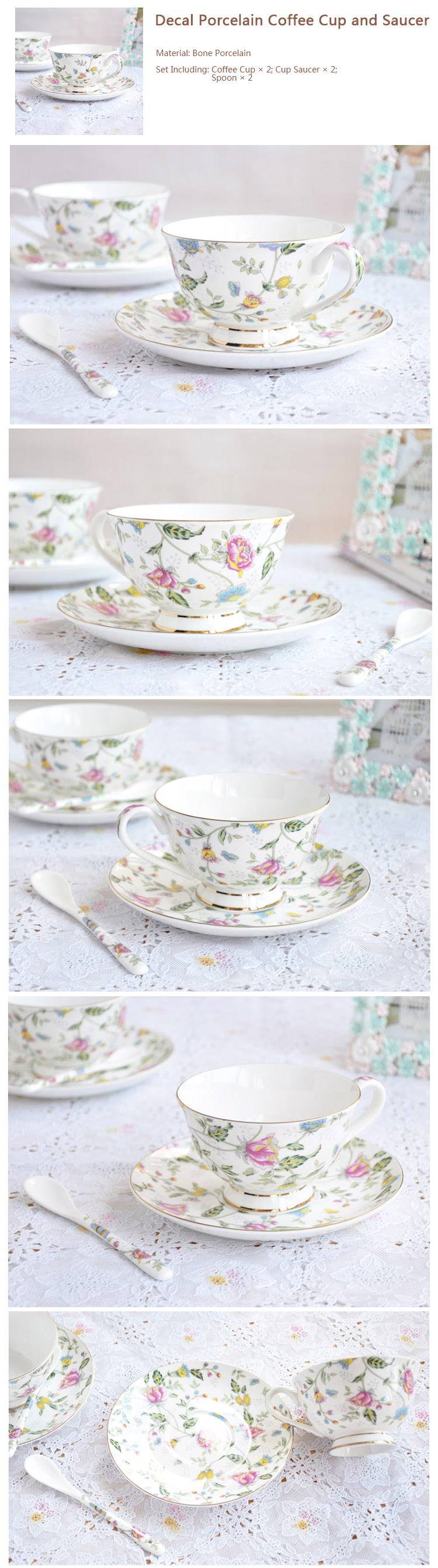 Flower Decal Porcelain Coffee Cup and Saucer Set