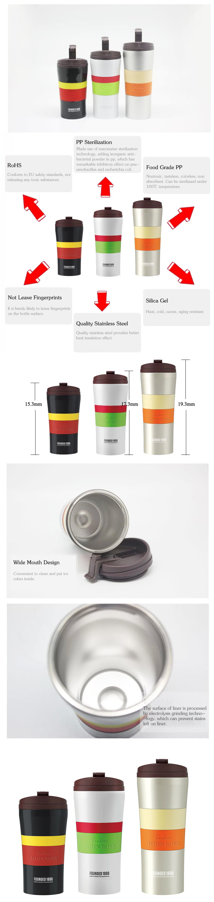 280ml Scald Proof Takeaway Stainless Insulated Water Bottle