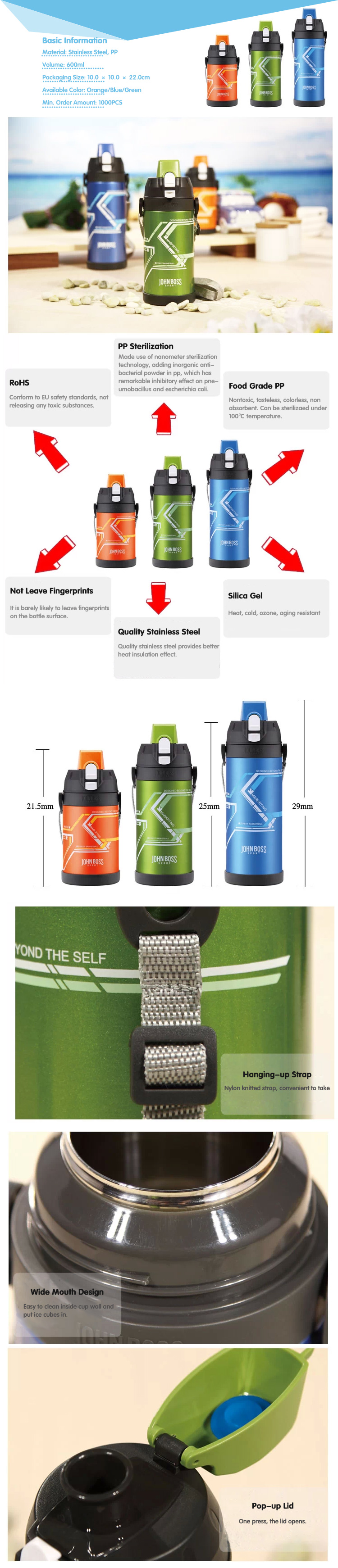 Outdoor Stainless Vacuum Thermal Insulated Sports Bottle