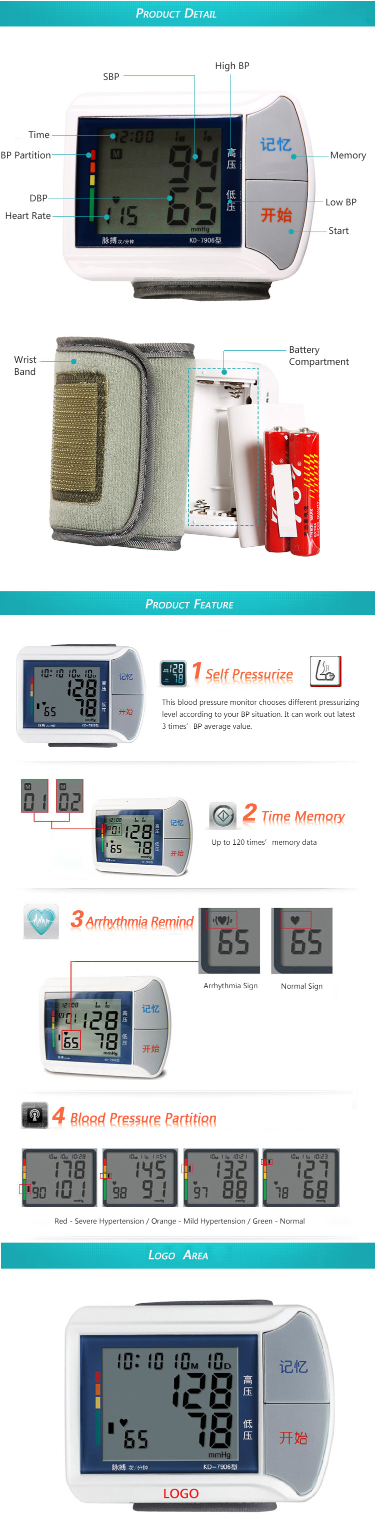 Wrist Band LCD Screen Heart Rate Blood Pressure Monitor