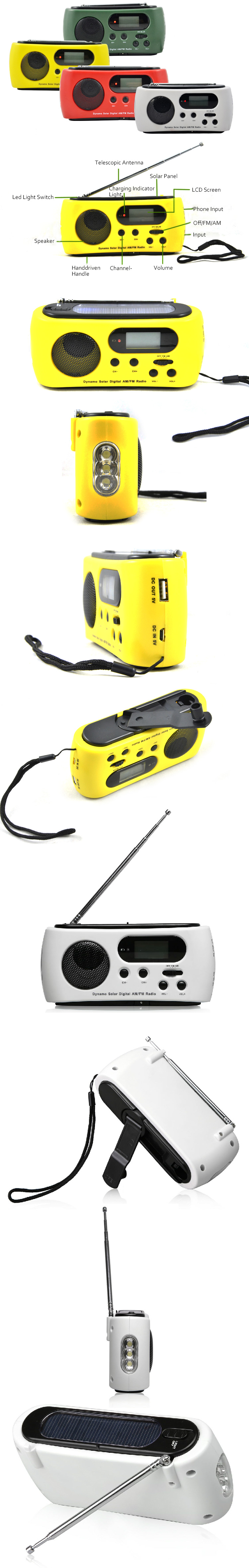 Rechargeable Solar Power FM Radio Flashlight