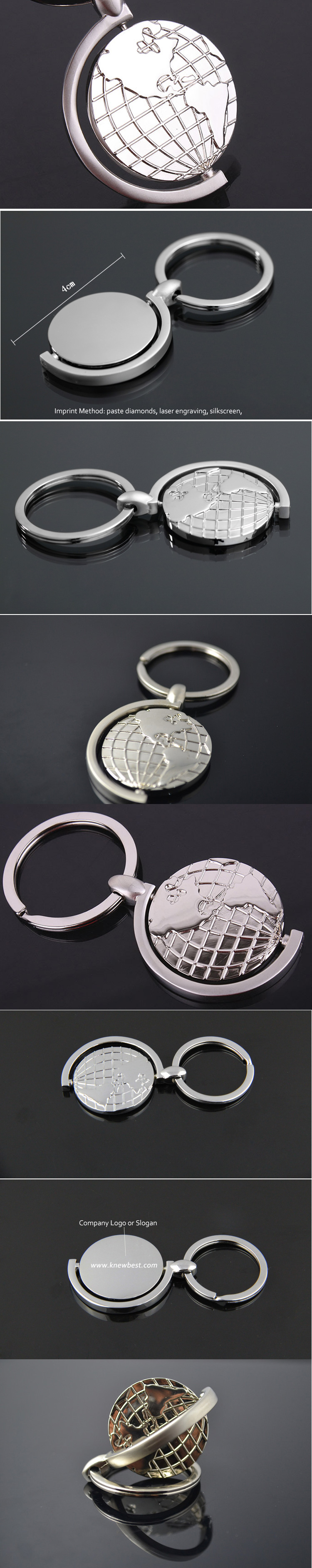 Rotary Tellurion Round Earth Map Keychain