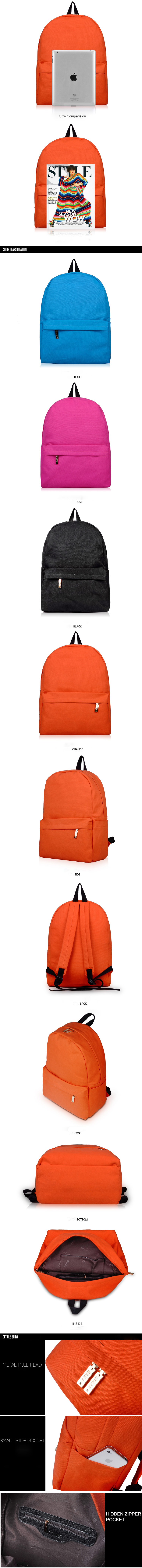Chic Canvas Zipper-up Womens Traveling Backpack with Side Pocket